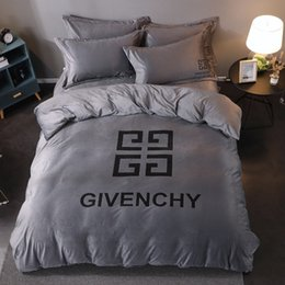 Luxury grey bedding online shopping - 4G Grey Bedding Sets For Autumn And Winter Bedroom Bed Cover Sheet Suit New Luxury Bedding Suit Crystal Velvet