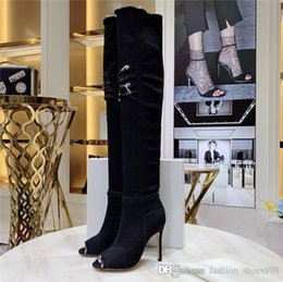 $enCountryForm.capitalKeyWord Australia - 2019 Jean Boots Women Thigh High Boots, High Bottes with Holes Blue Heels Zipper in Denim Jeans Shoes Open Toe Shoes