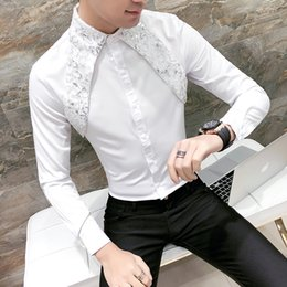 Designer Black Shirts For Men Australia - Men Lace Shirt New Designer Wedding Shirts For Men Fashion Social Club Party Black White Dress Shirts Smoking Long Sleeve