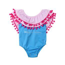 5t boutique clothing 2019 - Baby girls Pompom tassel romper infant Jumpsuits 2019 summer Fashion Boutique kids Climbing clothes C5805 cheap 5t bouti