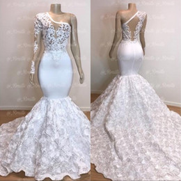Pictures dresses one hand online shopping - Prom Dresses Long Gorgeous One Shoulder White Mermaid Flower Train Lace Applique Evening Dresses Pageant Party Gowns
