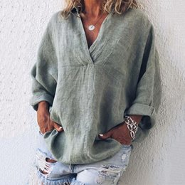 cotton linen blouse women Canada - Elegant Cross V Neck Women Blouse and Tops Spring Summer Cotton and Linen Shirts Female 3 4 Sleeve Blusas Casual Ladies Clothing