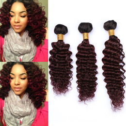 "$enCountryForm.capitalKeyWord Australia - Burgundy Ombre Wavy Human Hair Weave Wefts 3Pcs #1B 99J Ombre Red Wine Deep Wave Curly Malaysian Human Hair Bundles 10-30"" Mixed Length"
