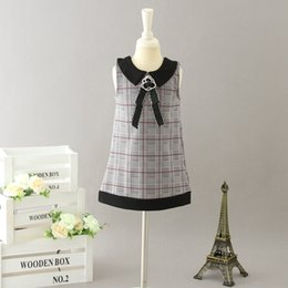 $enCountryForm.capitalKeyWord Australia - Lady style Girls Sundress Summer designer kids plaid lapel princess Vest dress chidren stereo flower Bows tie lattice A-line dress Y2807