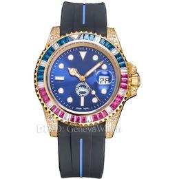 $enCountryForm.capitalKeyWord Australia - New Mens Designer Watches 40mm Gold Diamond Bezel 316L Stainless Steel Case Black Rubber Strap Luxury Watch Sapphire Waterproof Wristwatches