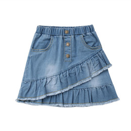 cute jeans shorts UK - 2019 Denim Features Wild Kids Stylish Blue Girls Short Skirt Mini Jeans Skirt Summer CH Fashion Lovely Toddler Cute New Xptpj