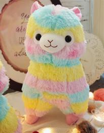 Discount wholesale alpaca toys - 15cm Cute Rainbow Kawaii Alpaca Llama Soft Plush Toy Doll Stuffed Animals Boy girl birthday gift K0287