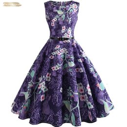 vintage swing Australia - Womens Summer Dresses Women Robe Knee-Length Vintage Swing Rockabilly Elegant Dress High Waist Floral Runway Sundress Tunic