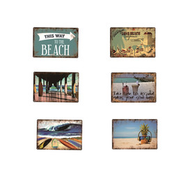 wholesale antique tin signs UK - Have A Holiday Beach Vintage Metal Plate Home Garage Garden Livingroom Outside Decorative Wall Art Poster Tin Sign Retro 20x30cm Drink Juice