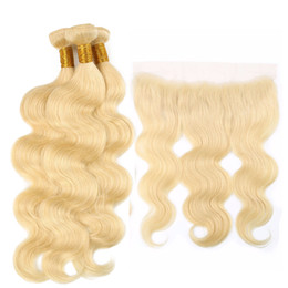 Brazilan Hair Australia - Brazilian 613 Blonde Human Hair Weaves Unprocessed Brazilan Virgin Hair Bundles with Closure Body Wave Hair Extensions and Frontal