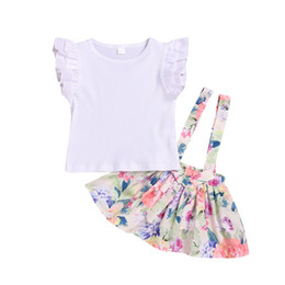 $enCountryForm.capitalKeyWord Australia - Baby Girl Clothes Summer Baby Girl Flare Sleeve Solid Print T-shirt Floral Strap Skirts Cotton Casual Outfits Set