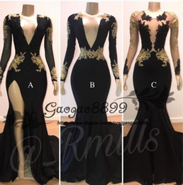 China Black Sheer V Neck Side Split mermaid prom dresses Long Sleeves Gold Lace Applique 3 styles sexy Evening Gowns cheap vestidos de fiesta cheap jacket style gowns suppliers