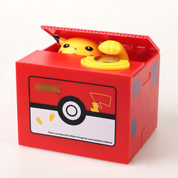 Wholesale New Pokemons Pikachu Electronic Plastic Money Box Steal Coin Piggy Bank Money Safe Box For Kids Gift Desk Toy