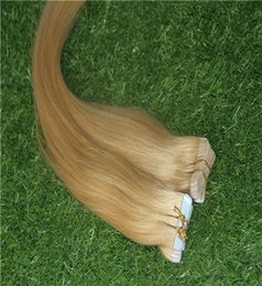 Human Hairs Golden Blonde Australia - Golden Blonde Color Skin Weft Hair Extensions 100% Remy Waterproof Tape In Human Hair Extensions 40pcs 100g pack Hair Extensions