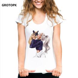 54d59db034 Girl and Dog Kawaii Print Tee Shirt Femme Short Sleeve Cotton White Tshirt  Korean Style Graphic Tees Women Harajuku