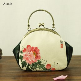 Wholesale lady peony for sale – plus size Alasir Hand Printed Women Shoulder Bags Female Chinese Style Handbags Canvas Flowers Frame Art Simple Peony Ladies Hand Bags
