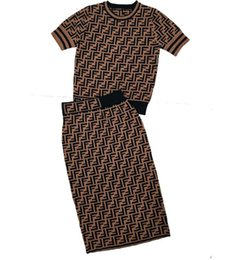 Chinese  19 High Quality Summer F Short Sleeve Top + F Half-length Skirt Knitted Two-piece Suit for Women manufacturers