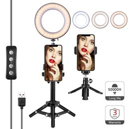 "Lighted Shades Australia - Selfie LED Ring Light 6"" with tripod Stand & Phone Holder, for Live Stream Makeup Video or YouTube,Three Different Shades and 10 Brightening"