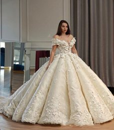 Wholesale 2019 White Gorgeous D Floral Appliques Flower Wedding Dresses Off Shoulder Ruffle Ball Gown Sheer Neck Lace Up Bridal Gown Plus Size