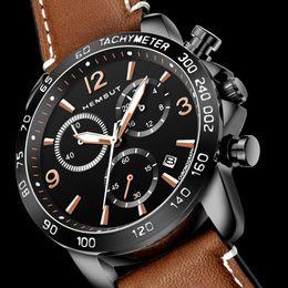 Hand Watch For Men Sports Australia - HEMSUT Men's Sport Watches 6 Hands Chronograph Quartz Wristwatches Auto Date 3ATM Water Resistant Brown Leather Watches For Men