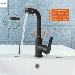 Kitchen Faucets Spout Australia - Black Brass 360 Rotation Spout Modern Kitchen Mixer Tap Single Handle Wash Basin Faucet For Bathroom Deck Mounted Mixer Tap