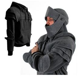 85742d53519 2018 Black Gray Solid Color Hoodies Men Mask Knight Mens Hoodie Sweatshirt  Tracksuit Retro Long Sleeve Tops Male Coats Outerwear
