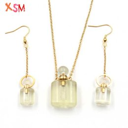 scent bottle pendant UK - XSM Scent-bottle Earrings Pendant Necklace for Women Gift Rectangular Shape Essential Oil Perfume Bottles Charms Jewelry Sets