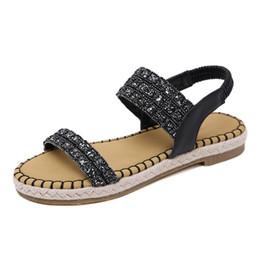 791c8257e32 Women s beach Sandals summer slippers Bohemian style Sequins Hemp Rope  Comfortable Platform Large Size Flats shoes . SMT-019