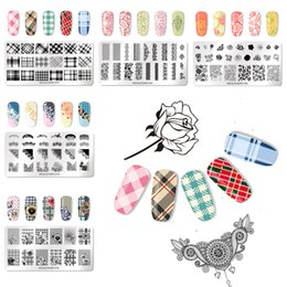Wholesale NICOLE DIARY Rectangle Nail Stamping Template Geometric Flowers Chic Lace Patterns DIY Nail Designs Manicure Stamp Plate Stencil