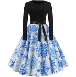dresses states UK - Europe and the United States Christmas new retro print round neck long sleeve large with belt dress