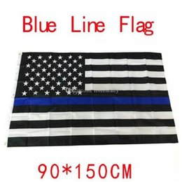 Wholesale 4 Types cm BlueLine USA Police Flags x5 Foot Thin Blue Line USA Flag Black White And Blue American Flag With Brass Grommets