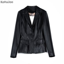 Ladies purpLe jackets online shopping - KoHuiJoo Autumn Faux Leather Blazer Women Button up Slim Office Ladies Slim Formal Work Pu Leather Jackets Green Purple Black