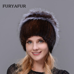 99e9c626954 JERYAFUR New style rabbit fur hat knitted wool fashion mink and Fox Fur Hat  Winter women s trip Ski Hat protects ears Russian C18112301
