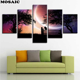 "diamond painting tree 2019 - 5D DIY diamond painting""Sunset Glow Trees Moonscape""5pcs diamond Pictures Embroidery Cross Stitch Full Square"