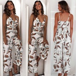 hottest jumpsuits Australia - Hot Elegant Women Bohemian Backless Jumpsuit Sleeveless V-Neck Floral Printed Playsuit Loose Floral Bodysuits Summer