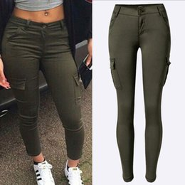 $enCountryForm.capitalKeyWord Australia - 2019 Multi-pocket Women's Low Waist Slim Stretch Pants Women Army Green Pencil Pants Casual Cargo Trousers Cool Streetwear