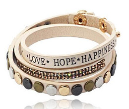 Hope jewelry sets online shopping - Fashion new brand Fine jewelry rhinestone Newest Crystal rivet love hope happiness leather warp bracelet for women