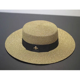 Little Hats Australia - Retro Lady Visor Spring Summer Golden Woven Straw Hat Fashion Little Bee Loose Sunscreen Travel Flat Cap