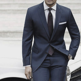 Dark Blue Suits Australia - Wedding Suits For Men 2018 Custom Made Mens Suits With Pants Dark Blue Grey Tailored Suit Costume Homme Mariage Luxe Terno Slim