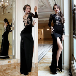 Wholesale floor length street style for sale – plus size Black Long Street Style Dresses Sexy Formal Party Gowns Women Crew Sheer Neck Elastic Satin Backless Lace Floor Length Evening Dress