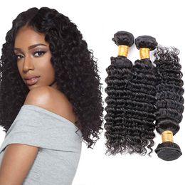 16 Inch Deep Wave Hair Australia - Malaysian Deep Wave Human Hair Extensions 100% Human Hair Weave 4 Or 3 Bundles Virgin Remy Natural Color 8-30 inches
