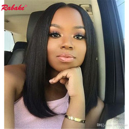 bob cut natural african hair 2019 - Brazilian Full Lace Human Hair Wigs Bob Cut Pre Plucked Rabake Full Lace Wig Cap Wholesale Natural Hairline for African