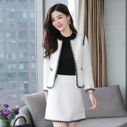 Work Office Pants And Jackets 2 Pieces Women Blazer Suit 2019 Autumn Vintage White Plaid Business Formal Suits For Women Dc800 Pant Suits