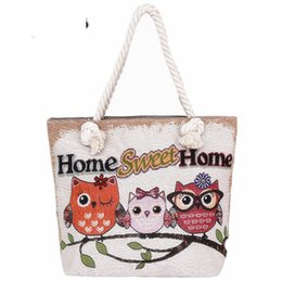Cute Canvas Handbags Australia - Fashion Women Beach Bag Casual Handbag Canvas Shopping Bag Ladies Large Capacity Shoulder Bag Cute Owl Printing Messenger