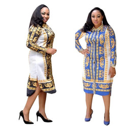 2950130ba09c 2019 New fashion Stampa africana Elastico Bazin Rock Style Dashiki full  Sleeve Abiti centrali famosi con cintura