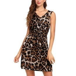 3575276ab0 2019 Hot Selling Women Leopard Print Sleeveless Summer Dress V-Neck Ladies  Party Casual Mini Dress