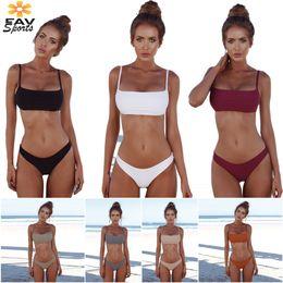 $enCountryForm.capitalKeyWord NZ - 2018 Hot Sale Sexy Bathing Suits High Leg Bikini Padded Halter Bras Women Swimwear Bikini for Summer Push-up Swimwear 7 Colors