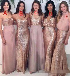 Gold Sequin Bridesmaid Dress Short Australia - 2019 Cheap Blush Pink Rose Gold Sequins Bridesmaid Dresses Chiffon Strapless Spaghetti Straps V Neck Short Sleeves Long Maid of Honor Gown