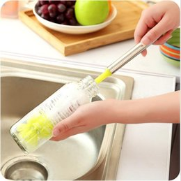 Glasses Cleaning Clothes Australia - Stainless steel handle brush bottle vacuum glass cleaning cleaning tool for kitchen cleaner