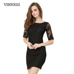 $enCountryForm.capitalKeyWord NZ - Summer Dress 2019 Black White Blue Fashion Lace Stitching Zipper Decoration Plus Size Vestidos Elegant Party Casual Dresses S348 C19042001